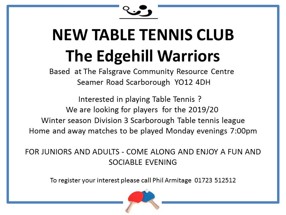 New Table Tennis Club Starting October 2019 @ Falsgrave Community Resource Centre